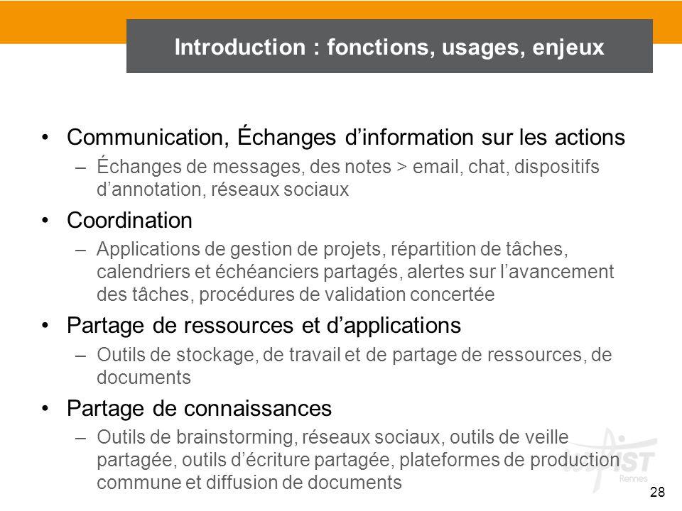 28 Introduction : fonctions, usages, enjeux Communication, Échanges d'information sur les actions –Échanges de messages, des notes > email, chat, disp