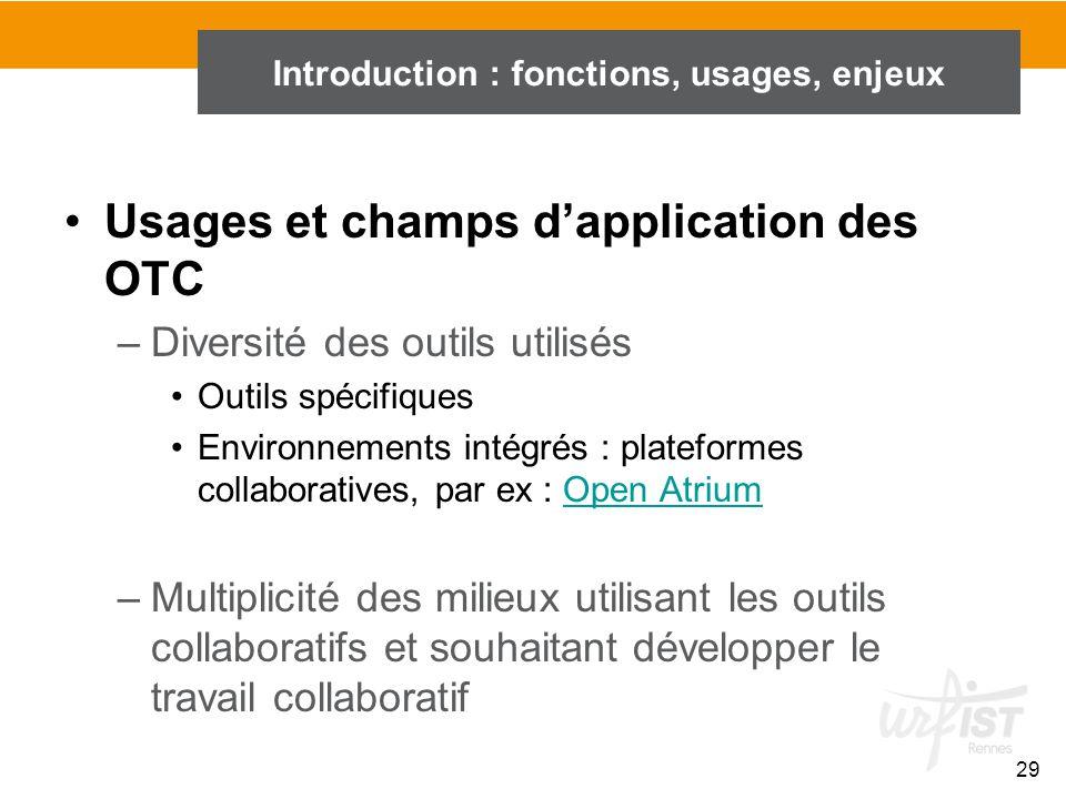 29 Introduction : fonctions, usages, enjeux Usages et champs d'application des OTC –Diversité des outils utilisés Outils spécifiques Environnements in