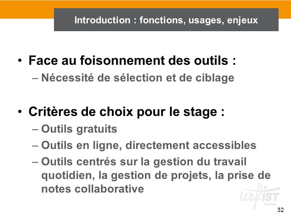 32 Introduction : fonctions, usages, enjeux Face au foisonnement des outils : –Nécessité de sélection et de ciblage Critères de choix pour le stage :