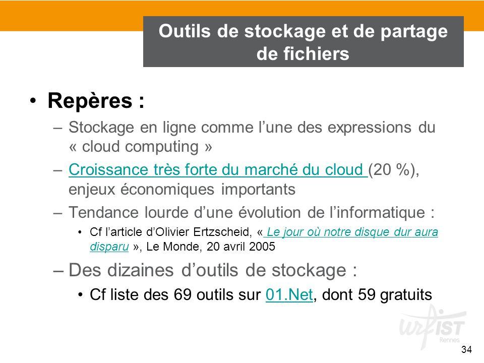 34 Outils de stockage et de partage de fichiers Repères : –Stockage en ligne comme l'une des expressions du « cloud computing » –Croissance très forte