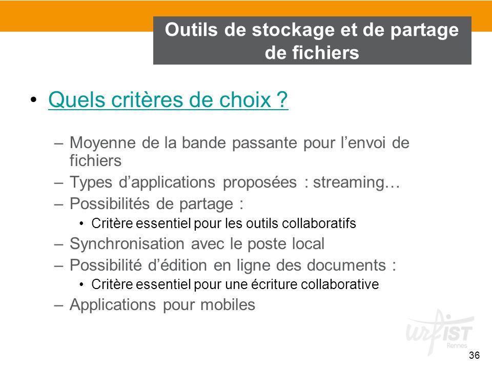 36 Outils de stockage et de partage de fichiers Quels critères de choix ? –Moyenne de la bande passante pour l'envoi de fichiers –Types d'applications