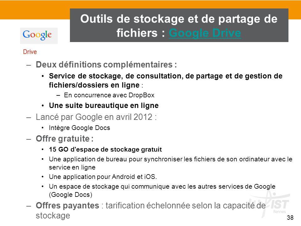 38 –Deux définitions complémentaires : Service de stockage, de consultation, de partage et de gestion de fichiers/dossiers en ligne : –En concurrence