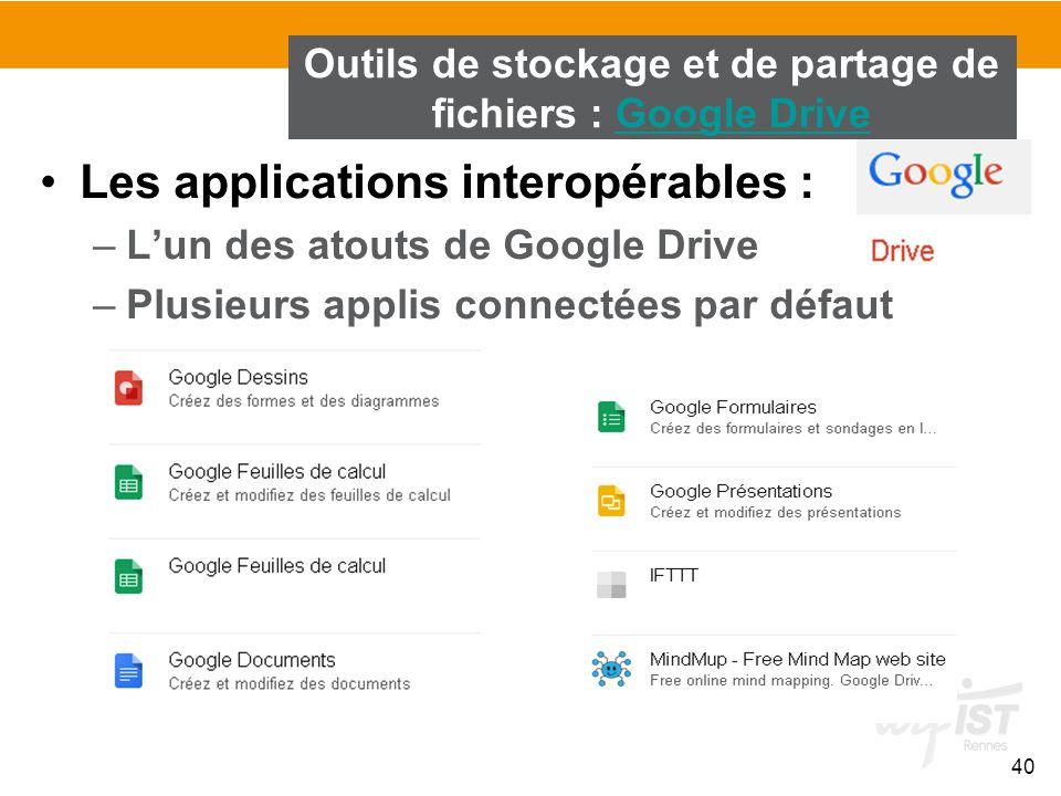 40 Les applications interopérables : –L'un des atouts de Google Drive –Plusieurs applis connectées par défaut Outils de stockage et de partage de fich