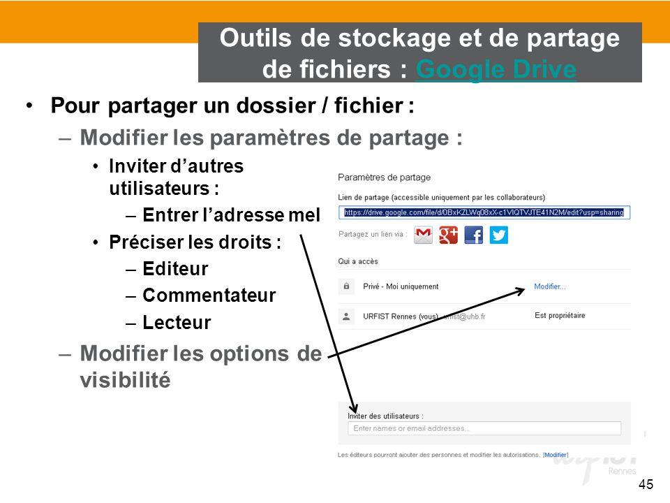 45 Pour partager un dossier / fichier : –Modifier les paramètres de partage : Inviter d'autres utilisateurs : –Entrer l'adresse mel Préciser les droit