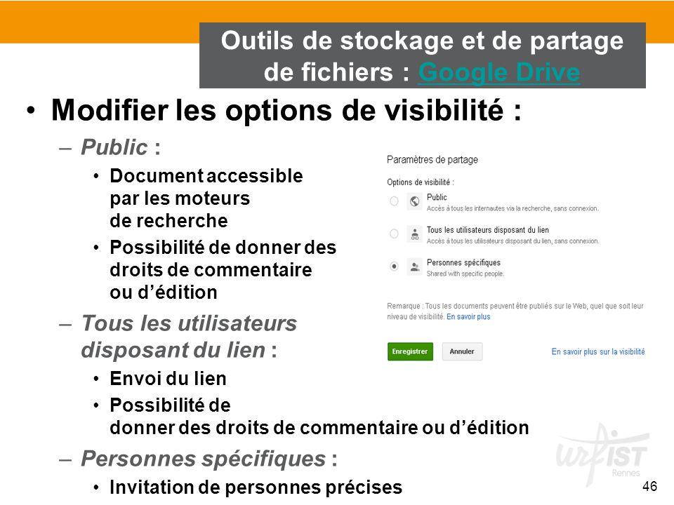 46 Modifier les options de visibilité : –Public : Document accessible par les moteurs de recherche Possibilité de donner des droits de commentaire ou