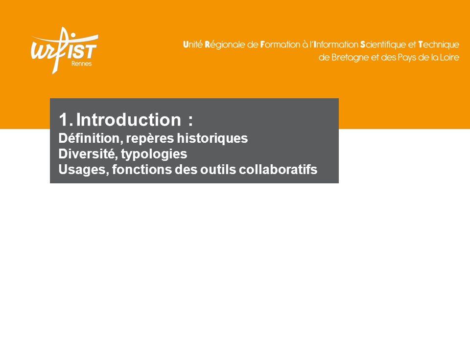 5 1.Introduction : Définition, repères historiques Diversité, typologies Usages, fonctions des outils collaboratifs