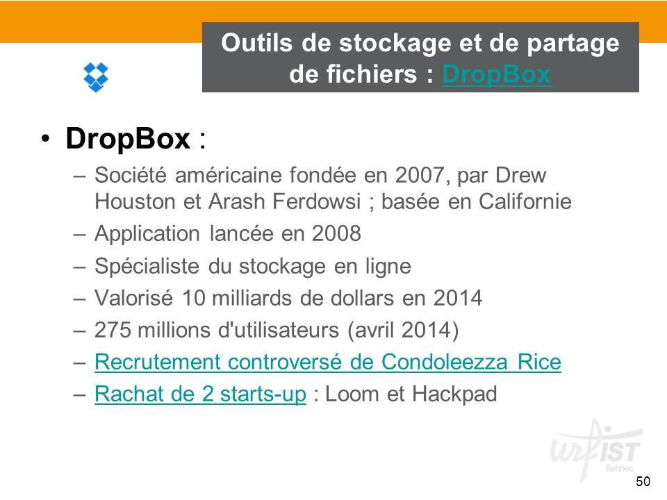 50 Outils de stockage et de partage de fichiers : DropBoxDropBox DropBox : –Société américaine fondée en 2007, par Drew Houston et Arash Ferdowsi ; ba
