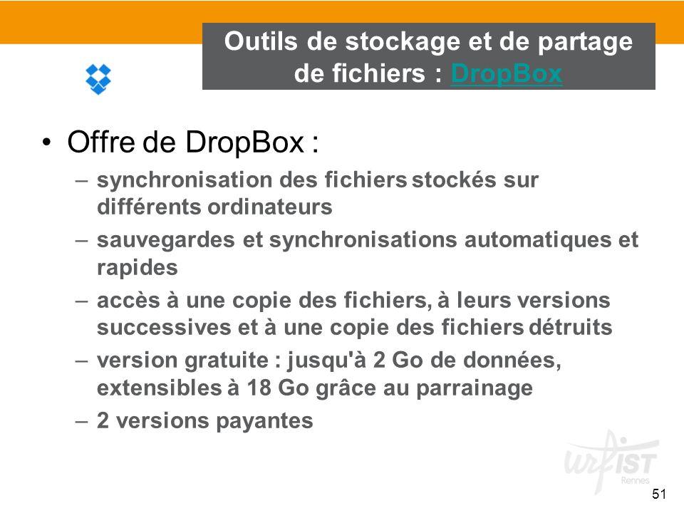51 Outils de stockage et de partage de fichiers : DropBoxDropBox Offre de DropBox : –synchronisation des fichiers stockés sur différents ordinateurs –