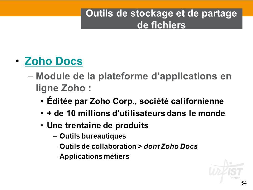 54 Outils de stockage et de partage de fichiers Zoho Docs –Module de la plateforme d'applications en ligne Zoho : Éditée par Zoho Corp., société calif