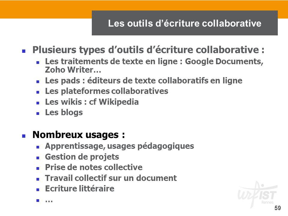59 Plusieurs types d'outils d'écriture collaborative : Les traitements de texte en ligne : Google Documents, Zoho Writer… Les pads : éditeurs de texte
