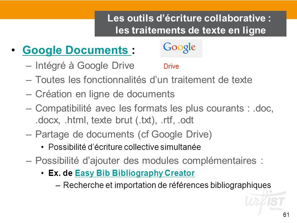 61 Google Documents :Google Documents –Intégré à Google Drive –Toutes les fonctionnalités d'un traitement de texte –Création en ligne de documents –Co