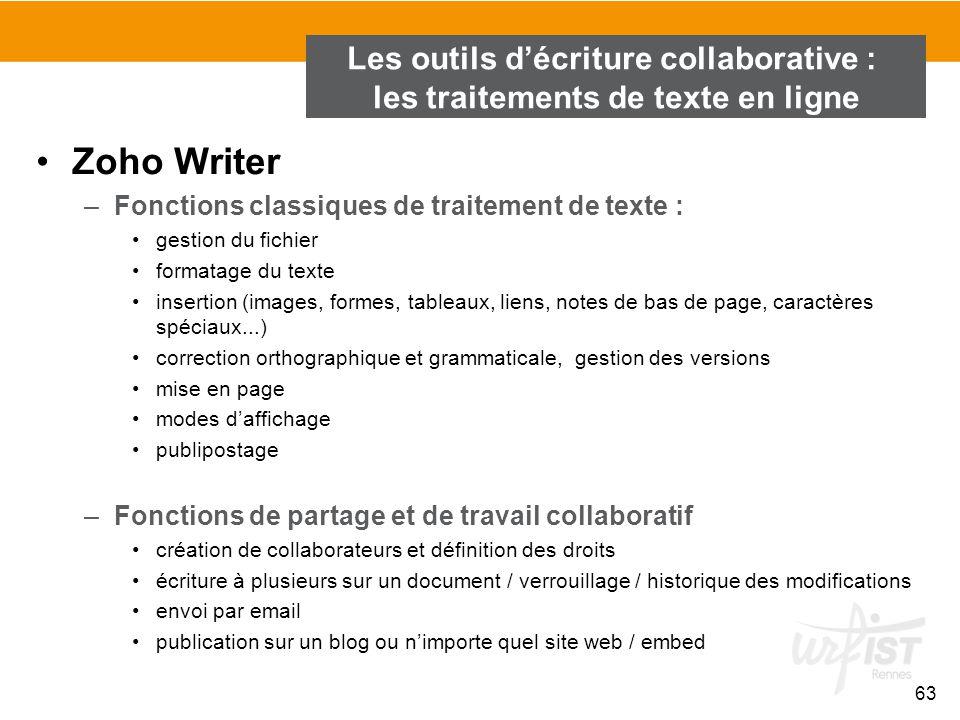 63 Zoho Writer –Fonctions classiques de traitement de texte : gestion du fichier formatage du texte insertion (images, formes, tableaux, liens, notes