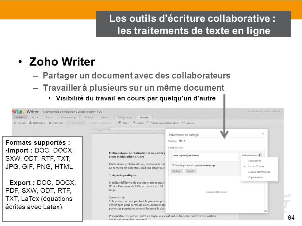 64 Zoho Writer –Partager un document avec des collaborateurs –Travailler à plusieurs sur un même document Visibilité du travail en cours par quelqu'un