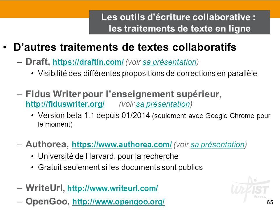 65 D'autres traitements de textes collaboratifs –Draft, https://draftin.com/ (voir sa présentation) https://draftin.com/sa présentation Visibilité des