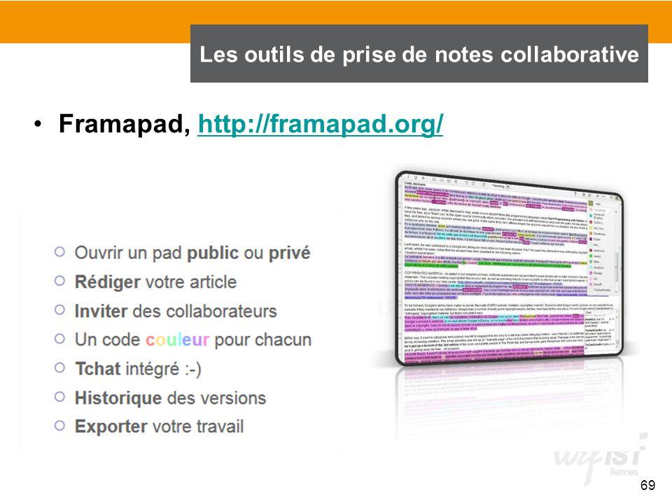 69 Framapad, http://framapad.org/http://framapad.org/ Les outils de prise de notes collaborative
