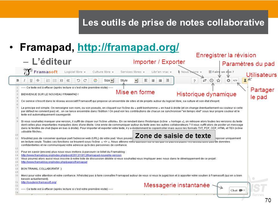 70 Framapad, http://framapad.org/http://framapad.org/ –L'éditeur Les outils de prise de notes collaborative Importer / Exporter Historique dynamique E