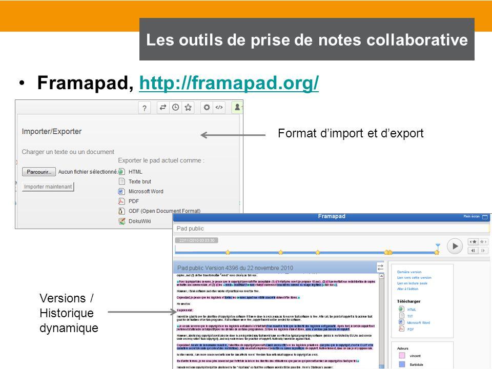 72 Framapad, http://framapad.org/http://framapad.org/ Les outils de prise de notes collaborative Format d'import et d'export Versions / Historique dyn