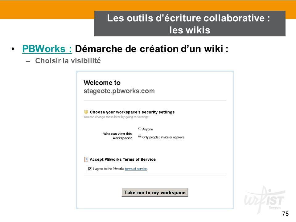 75 PBWorks : Démarche de création d'un wiki :PBWorks : –Choisir la visibilité Les outils d'écriture collaborative : les wikis
