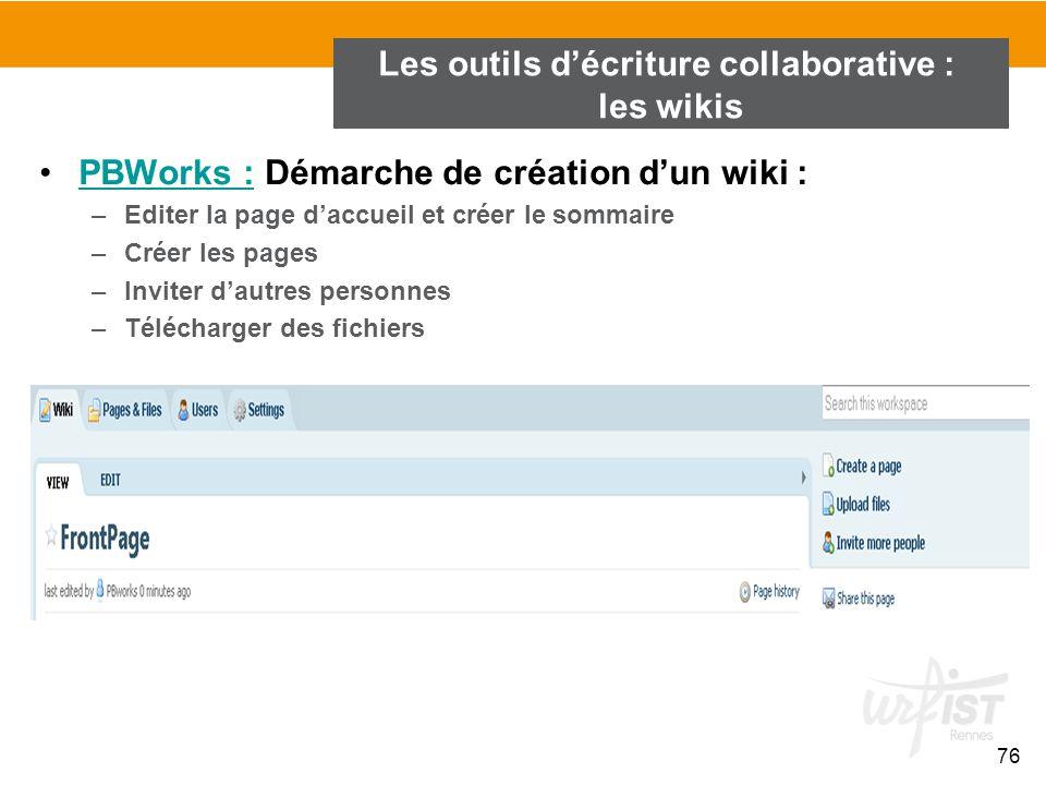 76 PBWorks : Démarche de création d'un wiki :PBWorks : –Editer la page d'accueil et créer le sommaire –Créer les pages –Inviter d'autres personnes –Té