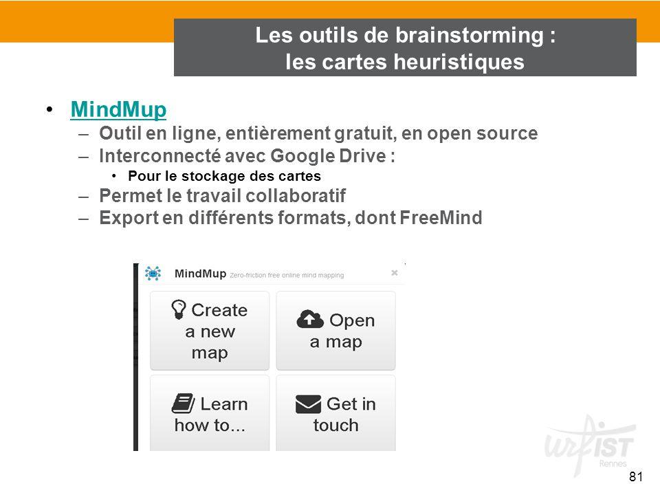 81 MindMup –Outil en ligne, entièrement gratuit, en open source –Interconnecté avec Google Drive : Pour le stockage des cartes –Permet le travail coll