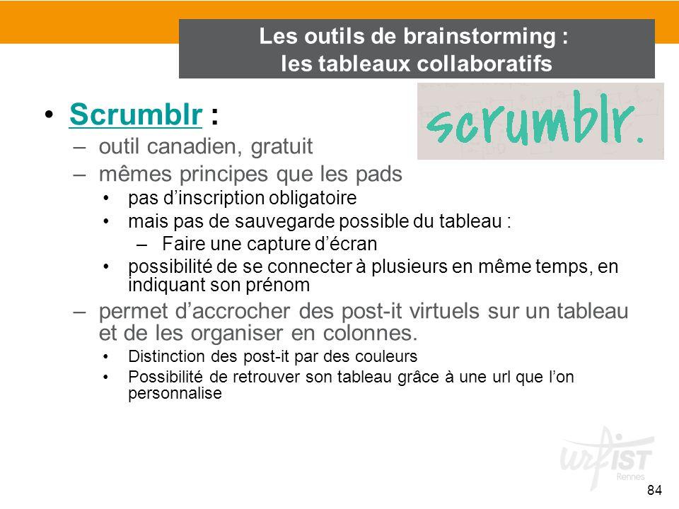 84 Scrumblr :Scrumblr –outil canadien, gratuit –mêmes principes que les pads pas d'inscription obligatoire mais pas de sauvegarde possible du tableau