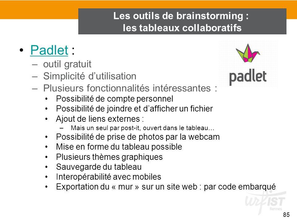 85 Padlet :Padlet –outil gratuit –Simplicité d'utilisation –Plusieurs fonctionnalités intéressantes : Possibilité de compte personnel Possibilité de j