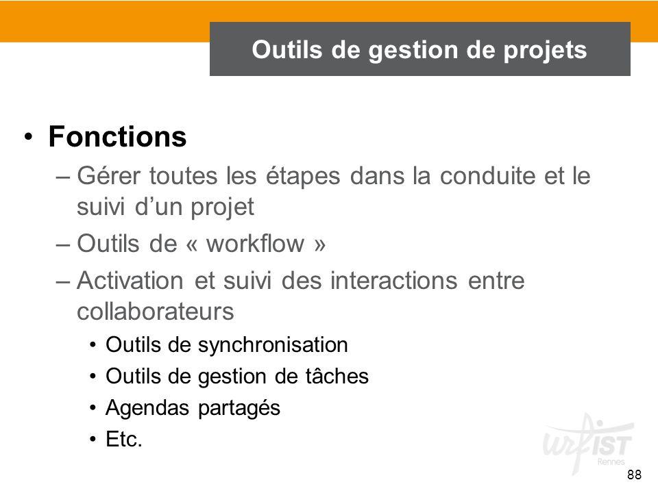 88 Outils de gestion de projets Fonctions –Gérer toutes les étapes dans la conduite et le suivi d'un projet –Outils de « workflow » –Activation et sui