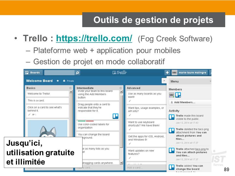 89 Outils de gestion de projets Trello : https://trello.com/ (Fog Creek Software)https://trello.com/ –Plateforme web + application pour mobiles –Gesti