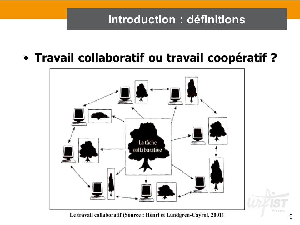 9 Travail collaboratif ou travail coopératif ? Introduction : définitions