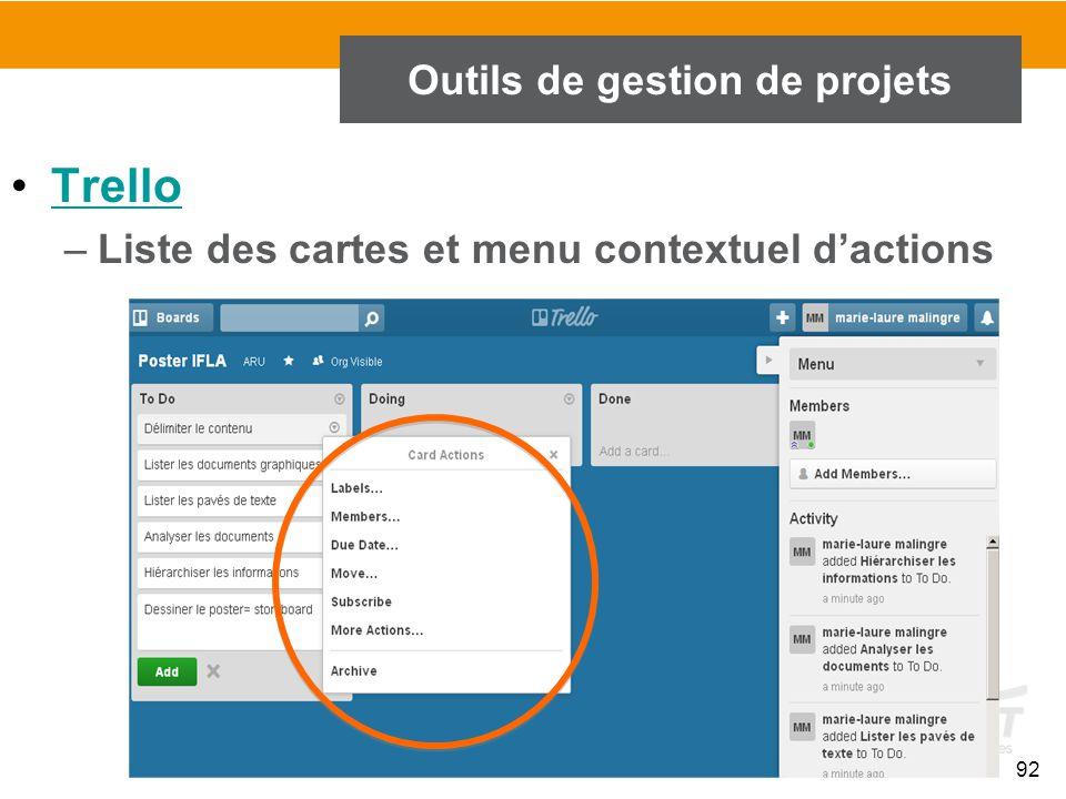 92 Outils de gestion de projets Trello –Liste des cartes et menu contextuel d'actions