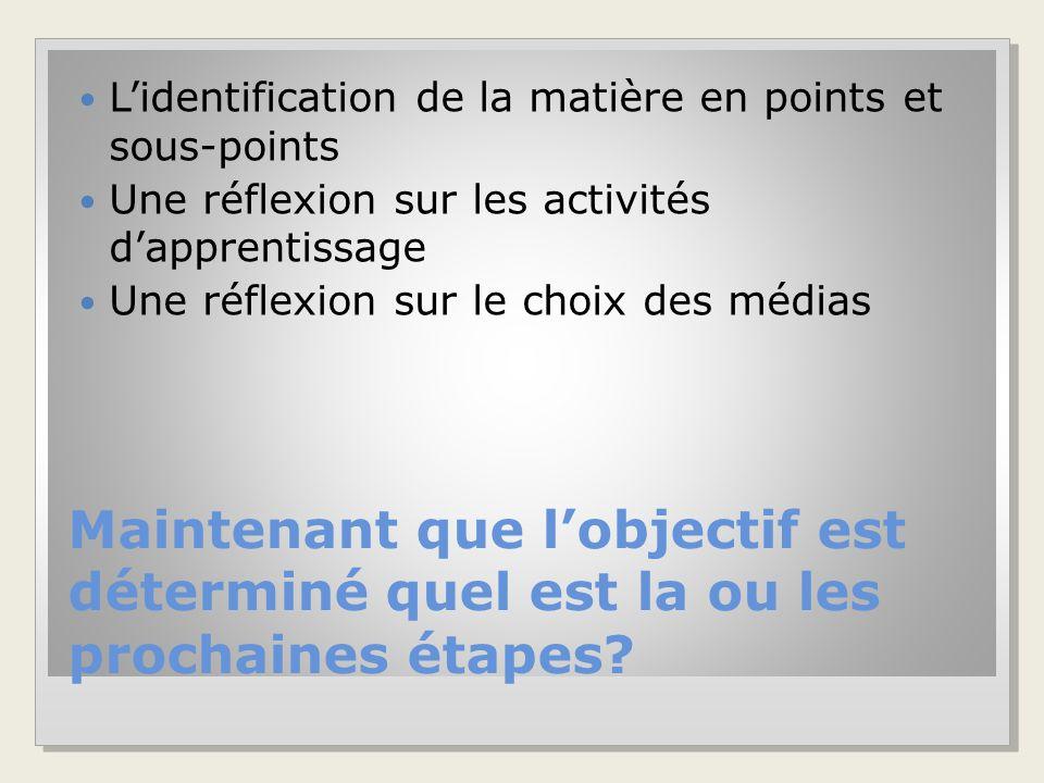 L'identification de la matière en points et sous-points Une réflexion sur les activités d'apprentissage Une réflexion sur le choix des médias
