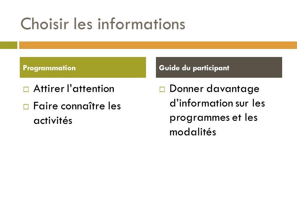 Choisir les informations  Attirer l'attention  Faire connaître les activités  Donner davantage d'information sur les programmes et les modalités ProgrammationGuide du participant