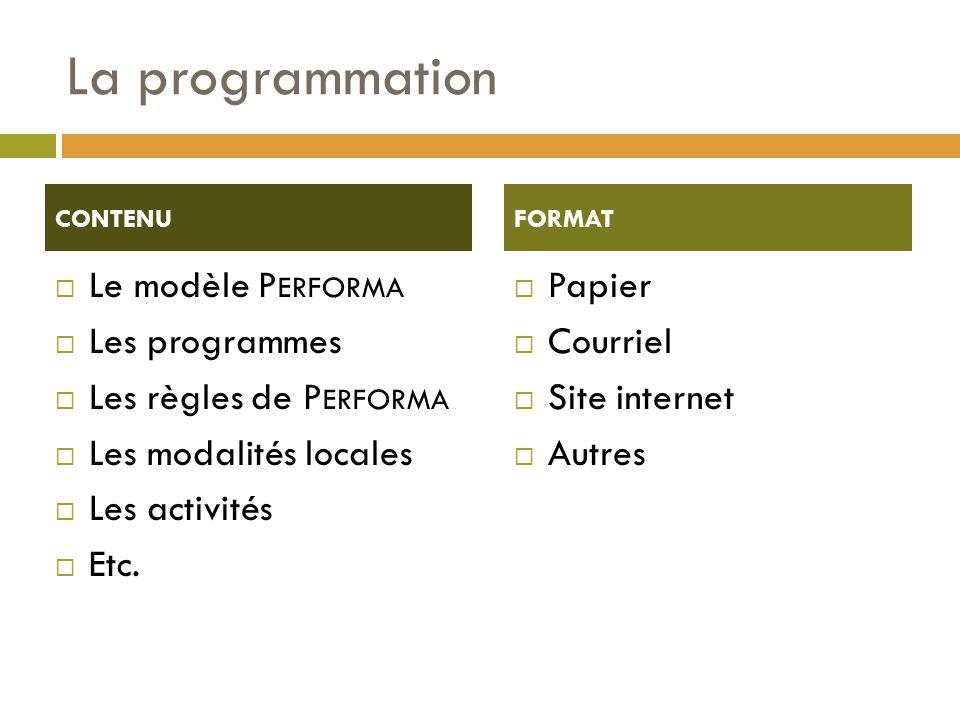 La programmation  Le modèle P ERFORMA  Les programmes  Les règles de P ERFORMA  Les modalités locales  Les activités  Etc.
