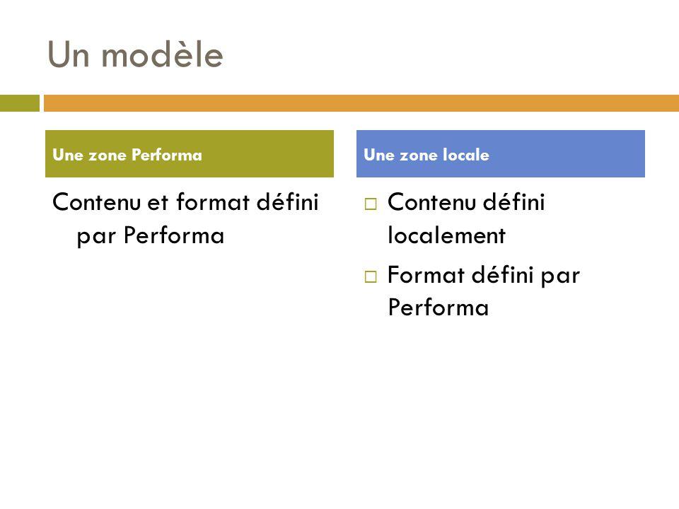Un modèle Contenu et format défini par Performa  Contenu défini localement  Format défini par Performa Une zone PerformaUne zone locale