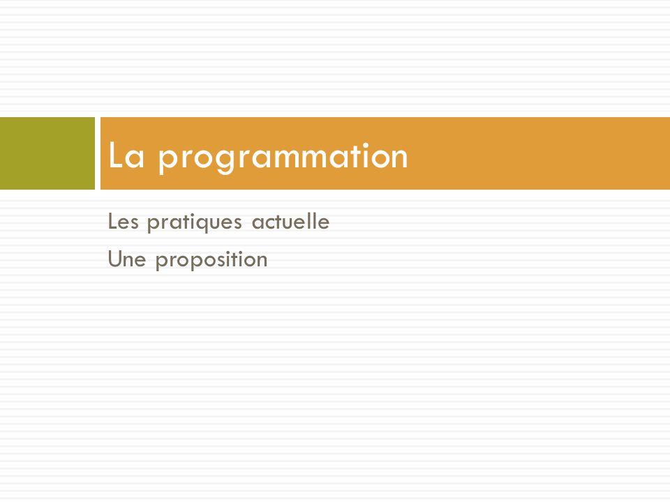 Les pratiques actuelle Une proposition La programmation