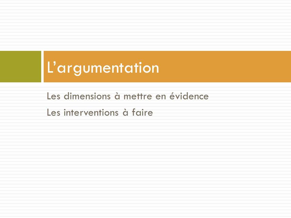 Les dimensions à mettre en évidence Les interventions à faire L'argumentation