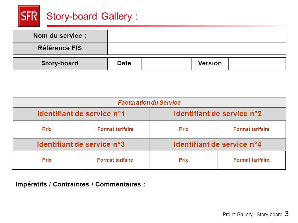 Projet Gallery –Story-board 3 Story-board Gallery : Facturation du Service Prix Nom du service : Identifiant de service n°2Identifiant de service n°1