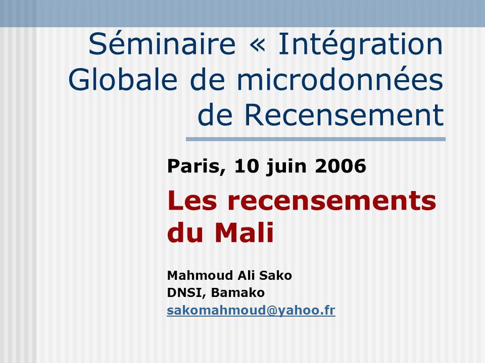 Séminaire « Intégration Globale de microdonnées de Recensement Paris, 10 juin 2006 Les recensements du Mali Mahmoud Ali Sako DNSI, Bamako sakomahmoud@yahoo.fr