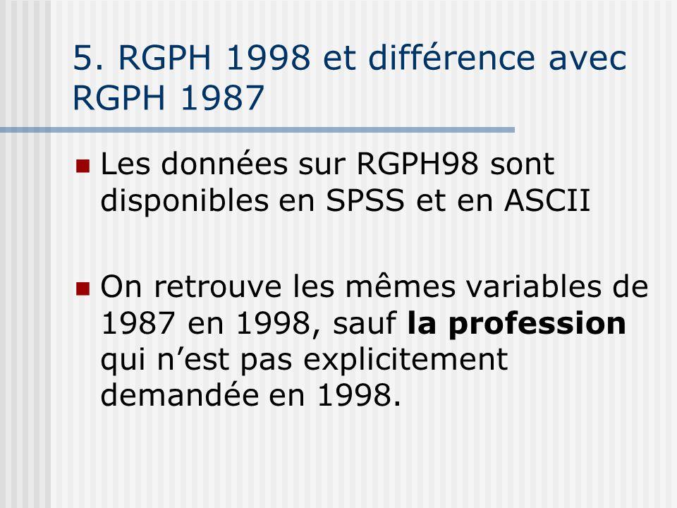 5. RGPH 1998 et différence avec RGPH 1987 Les données sur RGPH98 sont disponibles en SPSS et en ASCII On retrouve les mêmes variables de 1987 en 1998,