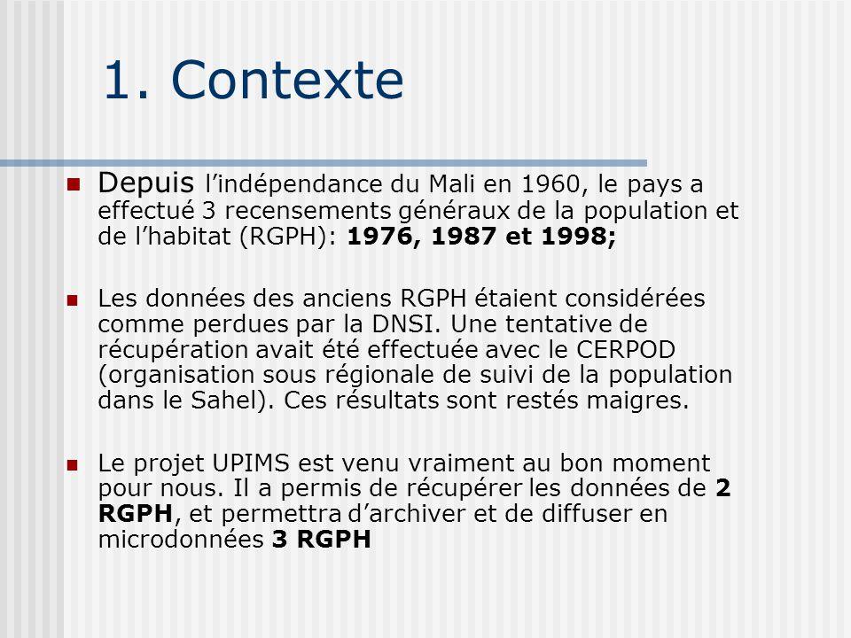 1. Contexte Depuis l'indépendance du Mali en 1960, le pays a effectué 3 recensements généraux de la population et de l'habitat (RGPH): 1976, 1987 et 1