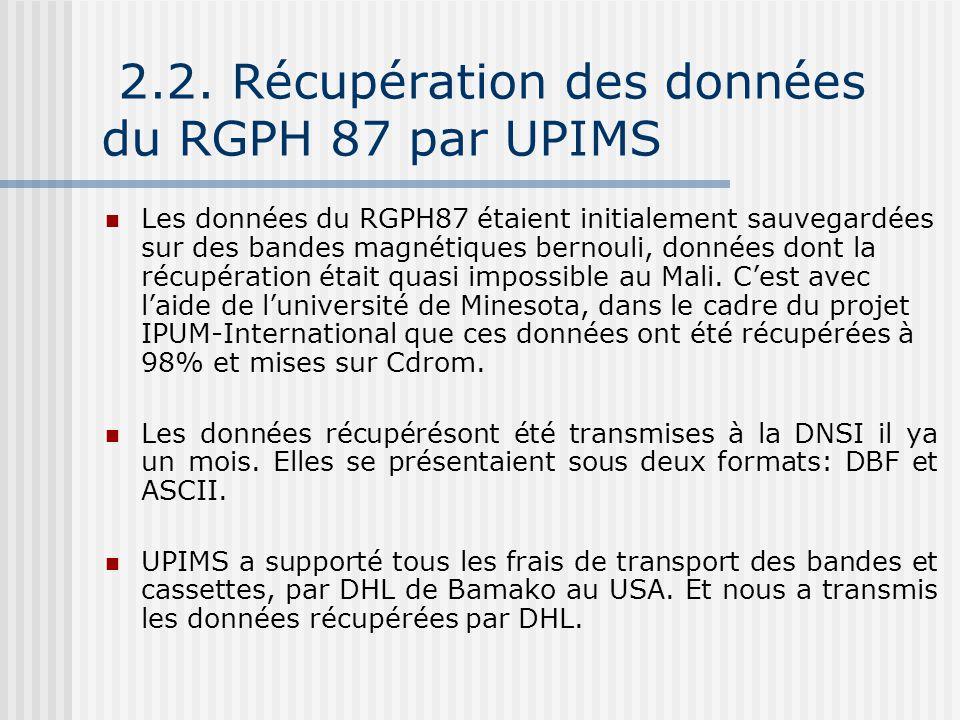 2.2. Récupération des données du RGPH 87 par UPIMS Les données du RGPH87 étaient initialement sauvegardées sur des bandes magnétiques bernouli, donnée