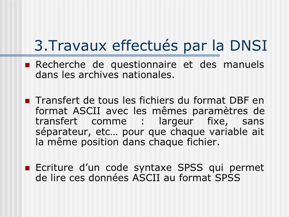 3.Travaux effectués par la DNSI Recherche de questionnaire et des manuels dans les archives nationales.