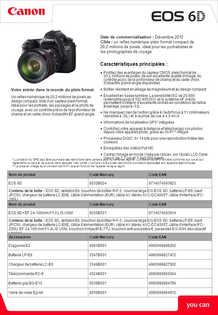 ÉCRAN LCD Type TFT Clear View, 7,7 cm (3,2 pouces), environ 1.040.000 points Couverture Environ 100% Angle de champ (horizontal/vertical) Environ 170° Traitement Anti-reflet double Réglage de la luminosité Sept niveaux de réglage Options d affichage (1) Écran de contrôle rapide (2) Paramètres de l appareil photo (3) Niveau électronique FLASH Modes Flash auto E-TTL II, manuel Synchronisation X 1/180 s Correction d exposition au flash +/-3 IL par paliers de 1/2 ou de 1/3 Bracketing d exposition au flash Oui, avec un flash externe compatible Mémorisation d exposition au flash Oui Synchronisation sur le second rideau Oui Griffe/borne PC Oui/Oui Compatibilité flash externe E-TTL II avec flashes Speedlite de série EX, prise en charge des multiflashes sans fil Contrôle flash externe Via l écran de menu du boîtier PRISE DE VUES Modes Système de sélection de scène intelligent, sans flash, auto créatif, portrait, paysage, macro, sport, portrait de nuit, nuit à main levée, ctrl rétroéclairage HDR, programme, priorité à la vitesse, priorité à l ouverture, manuel Styles d image Auto, standard, portrait, paysage, neutre, fidèle, monochrome, défini par l utilisateur (x3) Espace colorimétrique sRVB et Adobe RVB Traitement de l image Priorité hautes lumières Correction auto de luminosité (4 paramètres) Réduction du bruit en pose longue Réduction du bruit en ISO élevée (4 paramètres) Réduction du bruit multi-photos Correction automatique du vignettage de l objectif Correction de l aberration chromatique Rééchantillonnage M, S1, S2 ou S3 Traitement d image RAW, uniquement pendant la lecture des images Exposition multiple Images HDR Modes d acquisitionVue par vue, haute sensibilité en rafale, basse sensibilité en rafale, retardateur (2 s +télécommande, 10 s +télécommande) Prise de vue en continuMax.
