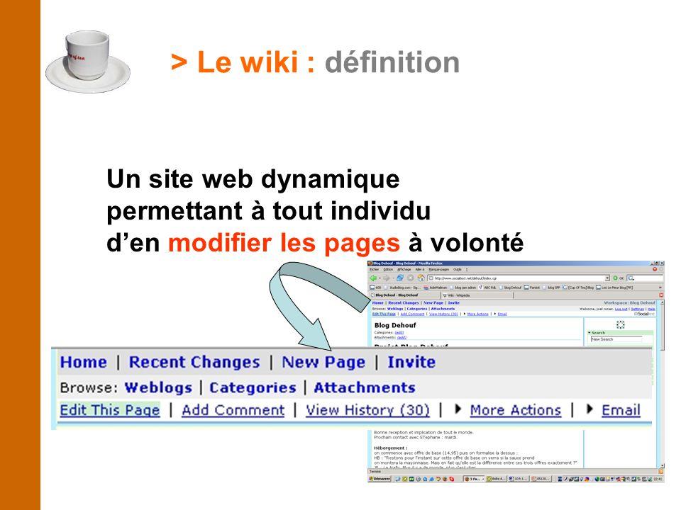 > Le wiki : définition Un site web dynamique permettant à tout individu d'en modifier les pages à volonté