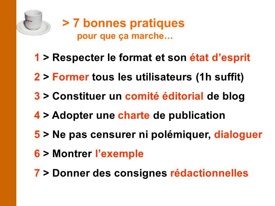 > 7 bonnes pratiques pour que ça marche… 1 > Respecter le format et son état d'esprit 2 > Former tous les utilisateurs (1h suffit) 3 > Constituer un comité éditorial de blog 4 > Adopter une charte de publication 5 > Ne pas censurer ni polémiquer, dialoguer 6 > Montrer l'exemple 7 > Donner des consignes rédactionnelles