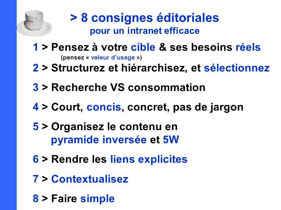 > 8 consignes éditoriales pour un intranet efficace 1 > Pensez à votre cible & ses besoins réels (pensez « valeur d'usage ») 2 > Structurez et hiérarchisez, et sélectionnez 3 > Recherche VS consommation 4 > Court, concis, concret, pas de jargon 5 > Organisez le contenu en pyramide inversée et 5W 6 > Rendre les liens explicites 7 > Contextualisez 8 > Faire simple