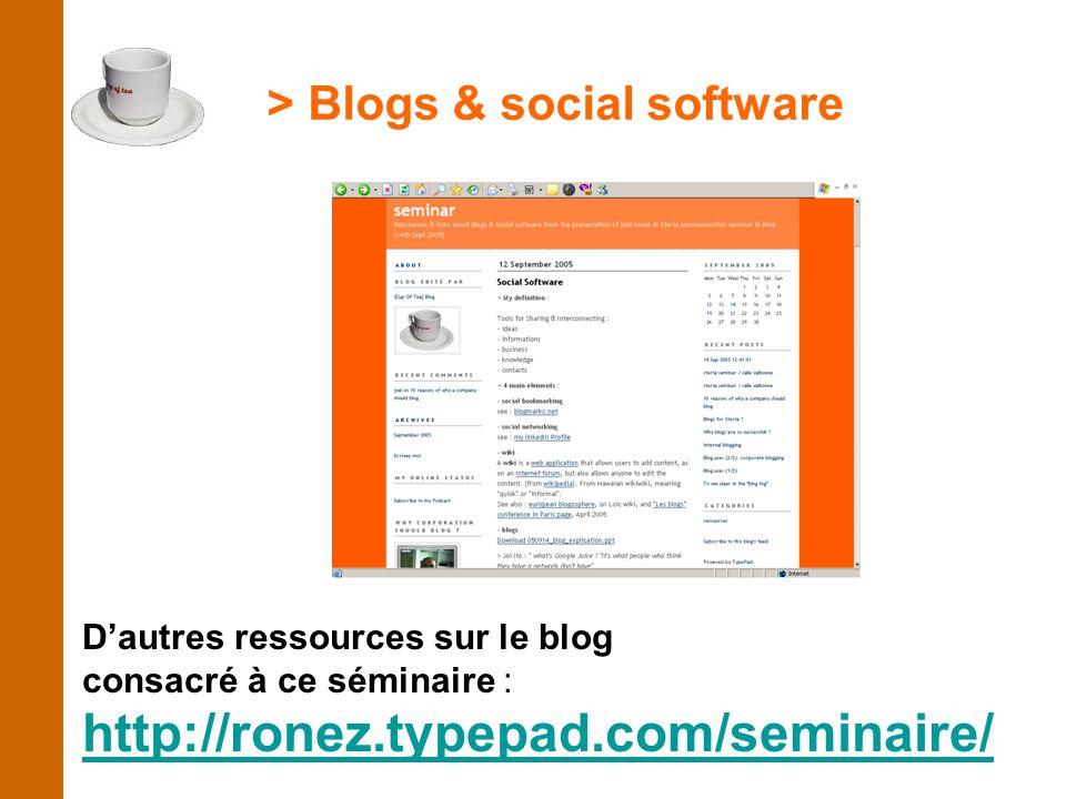 > Blogs & social software D'autres ressources sur le blog consacré à ce séminaire : http://ronez.typepad.com/seminaire/