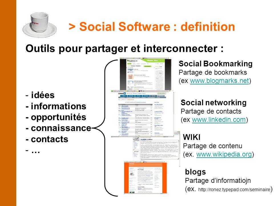 > Social Software : definition Outils pour partager et interconnecter : Social Bookmarking Partage de bookmarks (ex www.blogmarks.net)www.blogmarks.ne