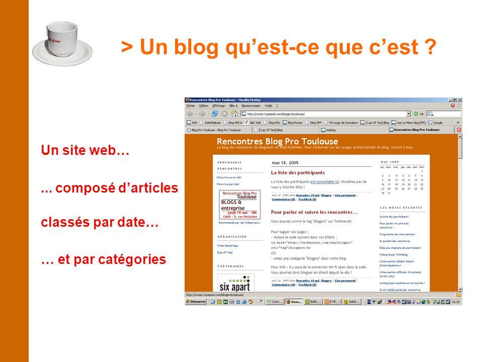 > Un blog qu'est-ce que c'est ? Un site web…... composé d'articles classés par date… … et par catégories