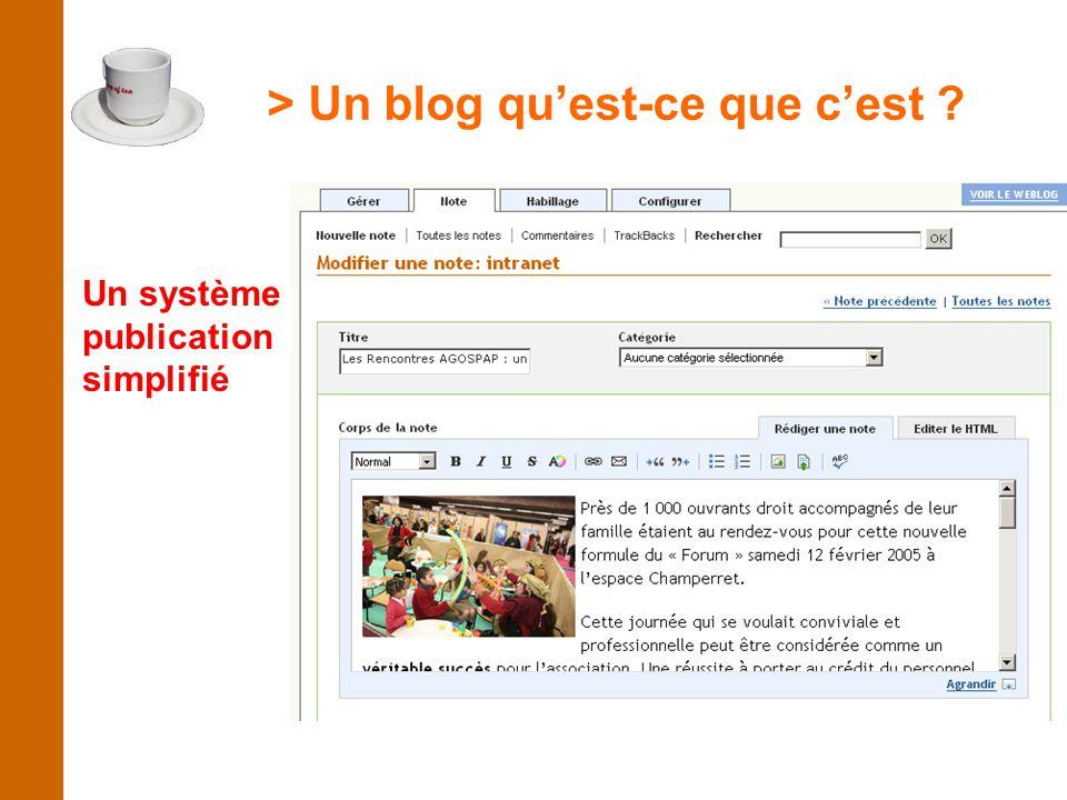 > Un blog qu'est-ce que c'est Un système de publication simplifié
